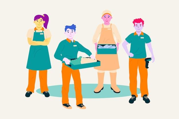 Supermarktarbeiter sammeln mit menschen in schürzen