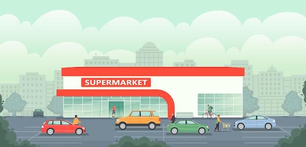 Supermarktgebäude im hintergrund der stadt. großer lebensmittelladen mit parkplatz und autos. die leute kaufen waren ein, kaufen lebensmittel ein. vektorillustration im flachen stil