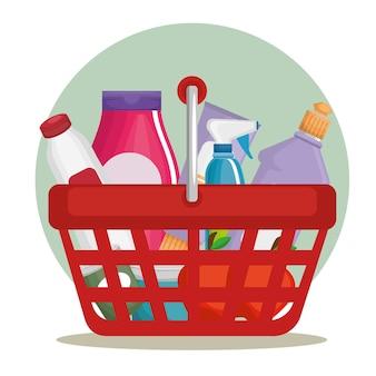 Supermarktprodukte im einkaufskorb