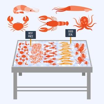 Supermarktregale mit frischen meeresfrüchten.
