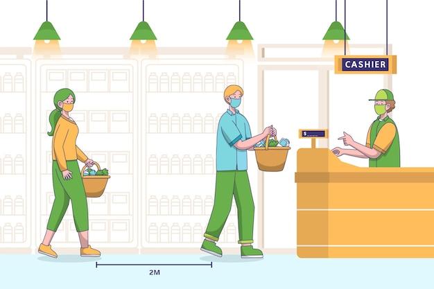 Supermarktschlange mit sicherheitsabstand