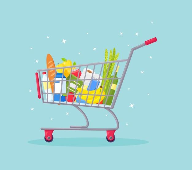 Supermarktwagen, einkaufswagen voller frischer lebensmittel