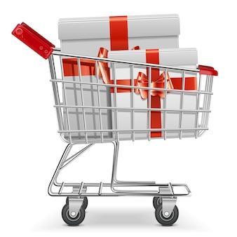 Supermarktwagen mit geschenken