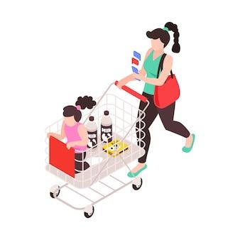 Supermutter, die mit ihrer tochter einkaufen geht, während sie isometrische ikonenillustration von textnachrichten beantwortet