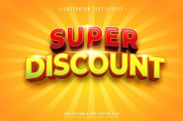 Superrabatt 3d-texteffekt mit gelbem hintergrund