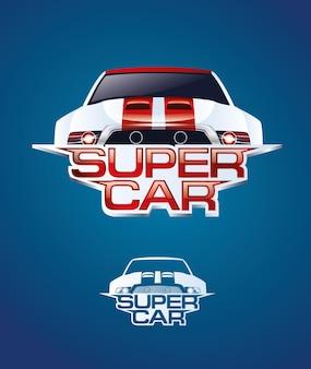 Supersportwagengrafiken für logo-design-vektorillustration, die vom innenraum des autos oder vom schnellen rennen bei hoher geschwindigkeit mächtig ist