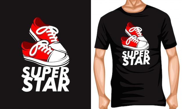 Superstar text mit turnschuhen schriftzug typografie zitate