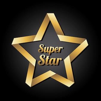 Superstern golden über schwarzer hintergrundvektorillustration
