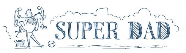 Supervati, der kindersohn und tochter-gekritzel-horizontale fahne hält