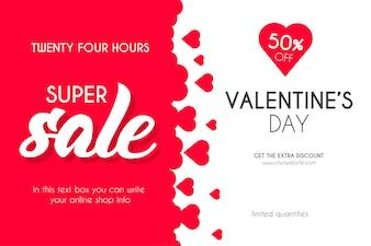 Superverkauf des Valentinstags mit Herzhintergrund