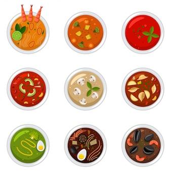 Suppe in der draufsicht des tellers. flacher ikonensatz der lebensmittelvektorkarikatur lokalisiert auf einem weißen hintergrund.
