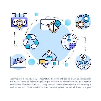 Supply-chain-konzept-symbol mit text. lieferung und versand von ethischen produkten. ökologische herstellung. ppt-seitenvorlage. broschüre, magazin, broschürenelement mit linearen abbildungen