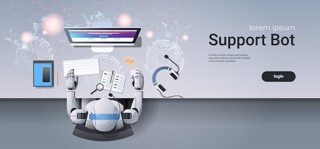 Support-roboter, der an der webvorlage für call center-dienste arbeitet