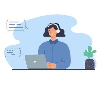 Support-service-frau antwortet auf nachrichten und anrufe von kunden. mädchen mit laptop, kopfhörer mit mikrofon, pflanze. flache illustration mit abstrakten hintergrund- und dialogformen.