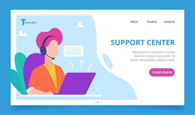 Support-service-landung. web-geschäftsseite person sprechende telefon digitale kunden vektor-vorlage. support-service online, hilfe für kunden, hilfe-webanruf-abbildung