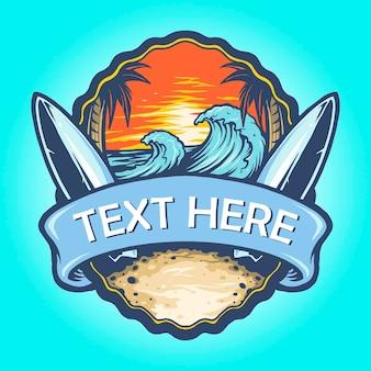 Surf board logo landschaft vintage vektorillustrationen für ihre arbeit logo, maskottchen-waren-t-shirt, aufkleber und etikettendesigns, poster, grußkarten, die ein unternehmen oder marken werben.