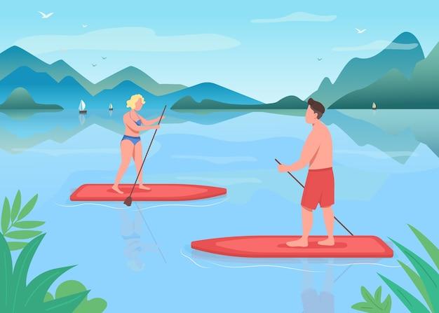 Surf boarding flache farbabbildung. aktiver lebensstil. paddleboarding training. wassersport. standup paddleboarding. athleten 2d-zeichentrickfiguren mit landschaft auf hintergrund