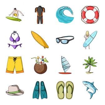 Surf-cartoon-set-symbol. lokalisierte gesetzte ikonenreise der karikatur auf ozean. illustration surfen.