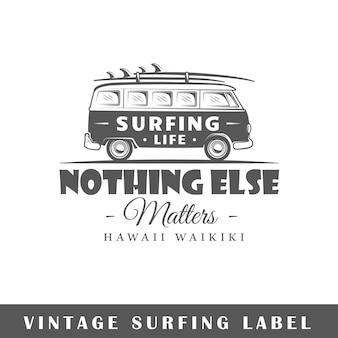Surf-etikett isoliert auf weißem hintergrund
