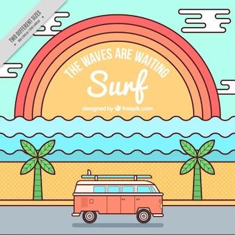 Surf hintergrund mit sonnenuntergang und caravan in linearen stil