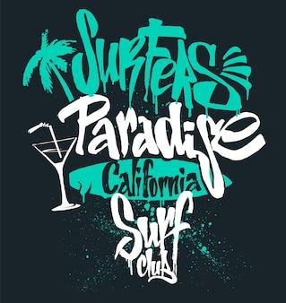 Surf paradise schriftzug, t-shirt grafiken, illustration