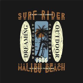 Surf rider california malibu stranddesign zum sommerthema mit palmensilhouette