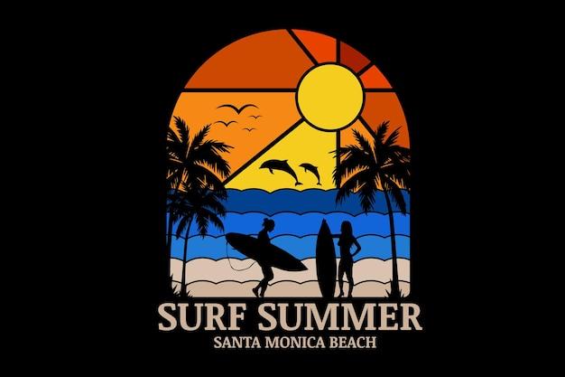 Surf sommer santa monica strand farbe orange farbverlauf und blau farbverlauf