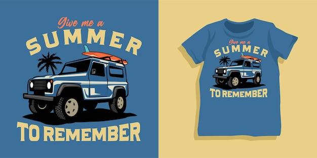 Surf- und offroad-auto-t-shirt-design