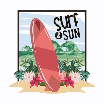 Surf- und sonnen-sommerkarten-cartoons
