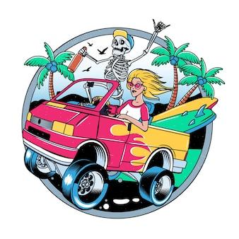 Surf van mit crazy skeleton und blondie girl. illustration.
