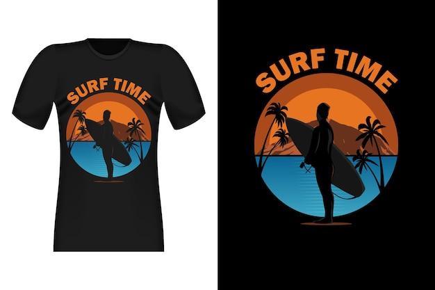 Surf-zeit mit silhouette-vintage-retro-t-shirt-design
