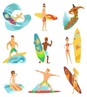 Surfboarder fahren auf wellen gesetzt
