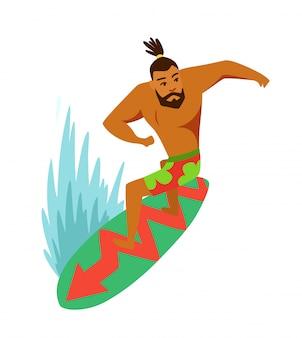 Surfboardfahrer des jungen mannes, der ein surfbrett reitet