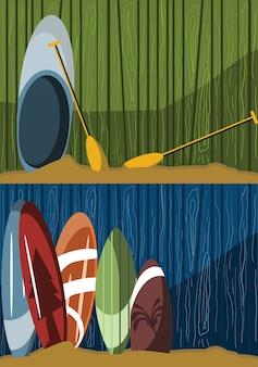 Surfbrett auf hölzerner hintergrundvektorillustration