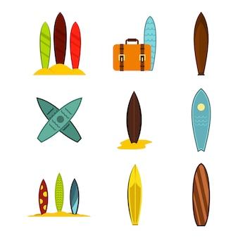 Surfbrett-icon-set. flacher satz der brandungsbrettvektor-ikonensammlung lokalisiert