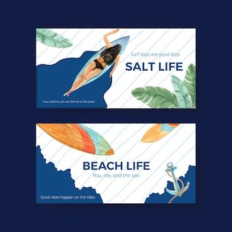 Surfbretter am stranddesign für tropische sommer- und entspannungsaquarellvektorillustration der sommerferien Kostenlosen Vektoren