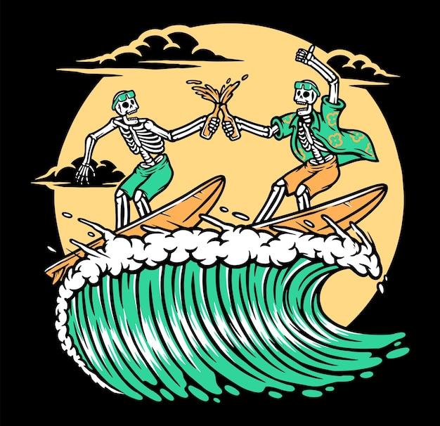Surfen beim bier genießen mit freunden