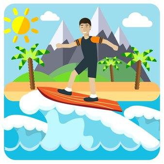 Surfen flache vektor-kreative konzeptillustration, männliches reiten auf surfbrett, insel, palme, berge, sonniges wetter, für banner und poster