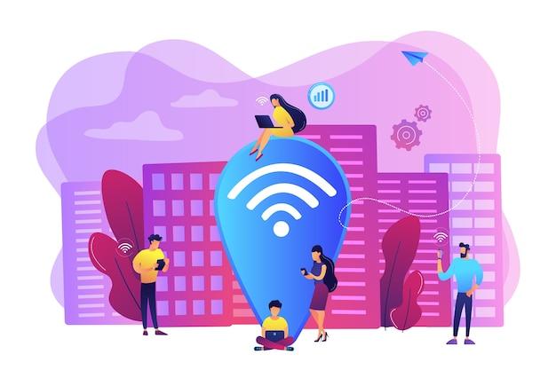Surfen im internet, surfen durch websites. kostenloses internet, netzwerk. öffentlicher wlan-hotspot, kostenloser wlan-internetzugang, kostenloses wlan-servicekonzept. helle lebendige violette isolierte illustration