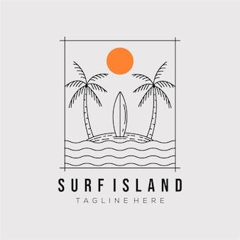 Surfen insel linie kunst logo vector illustration design. minimalistisches symbol für die umrisse der paradiesinsel