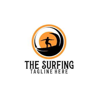 Surfen logo vorlage vektor. surfen-logo-konzept-vektor