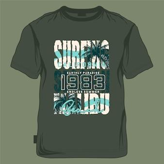 Surfen malibu beach grafikdesign typografie t-shirt s sommerabenteuer