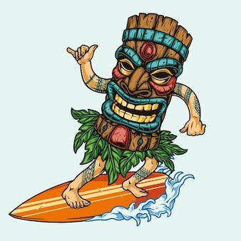 Surfen mit surfer in tiki-maske isoliert auf welle reiten