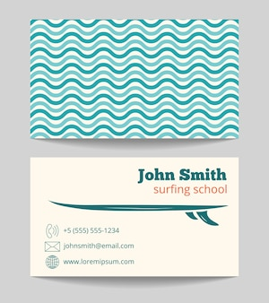 Surfen schule visitenkarte vorlage