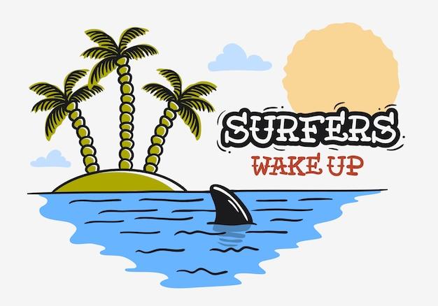 Surfen surfen unter dem motto haifischflosse und eine insel mit palmen hand gezeichnet traditionelle old school tattoo ästhetische fleischkörperkunst beeinflusste zeichnung vintage inspiriertes illustrationsbild
