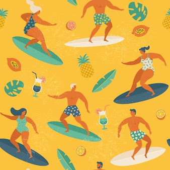 Surfende mädchen und jungen surfen bretter, die wellen fangen.