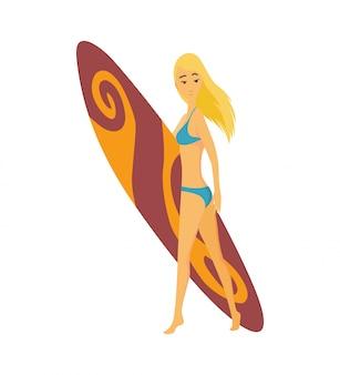 Surfende vektorillustration des sommers des blonden mädchens oder des surfers der jungen frau mit farbsurfbrett. karikaturplakat für sommersportaktivität und seefreizeithobby