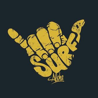 Surfender handzeichen-aloha-druck