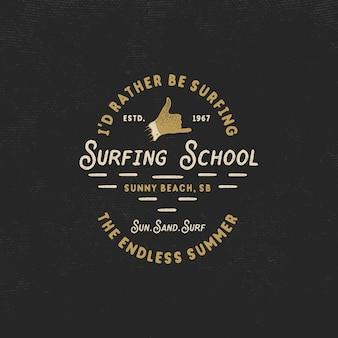 Surfendes logo des sommers mit shaka zeichen und text - ich würde eher surfen. surfschule