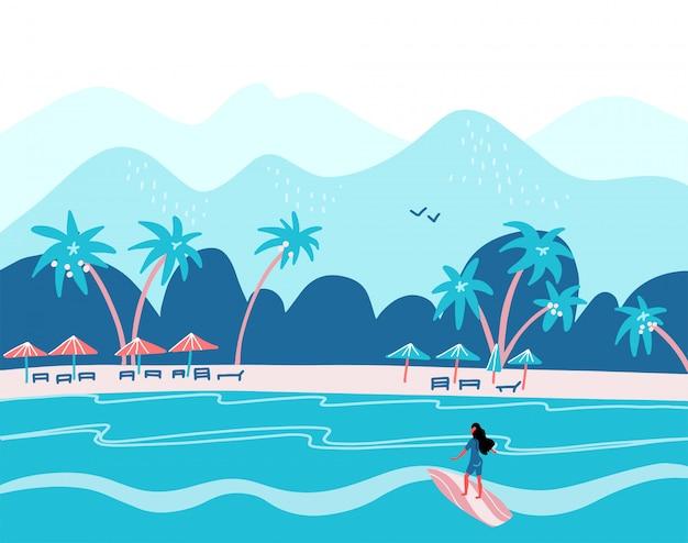 Surfendes mädchen am strand. palme, sand, ozean auf hintergrund.